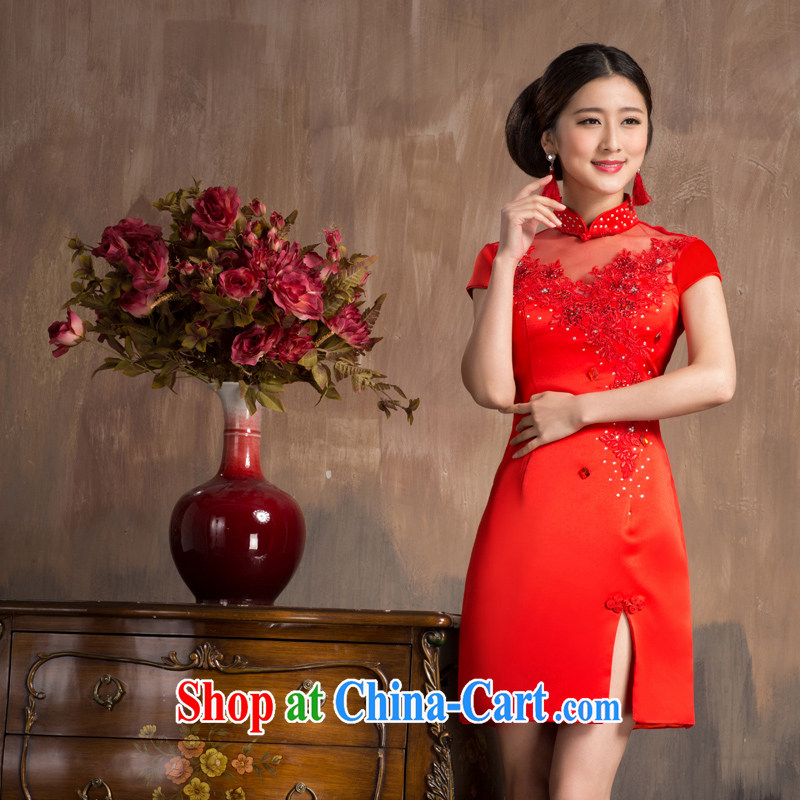Non-you are not married 2014 new bridal dresses wedding dress red dresses Chinese lace fashion toast serving short dress 2XL