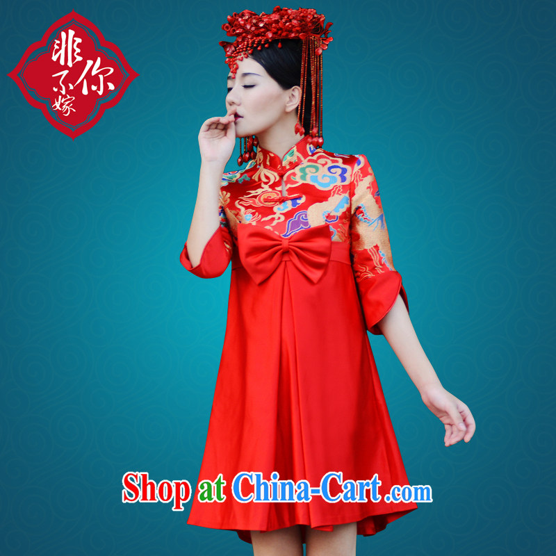 Non-you don't marry bridal dresses short summer waist-high, thick MM pregnant red wedding toast service wedding retro dress each style is a money-shot notes