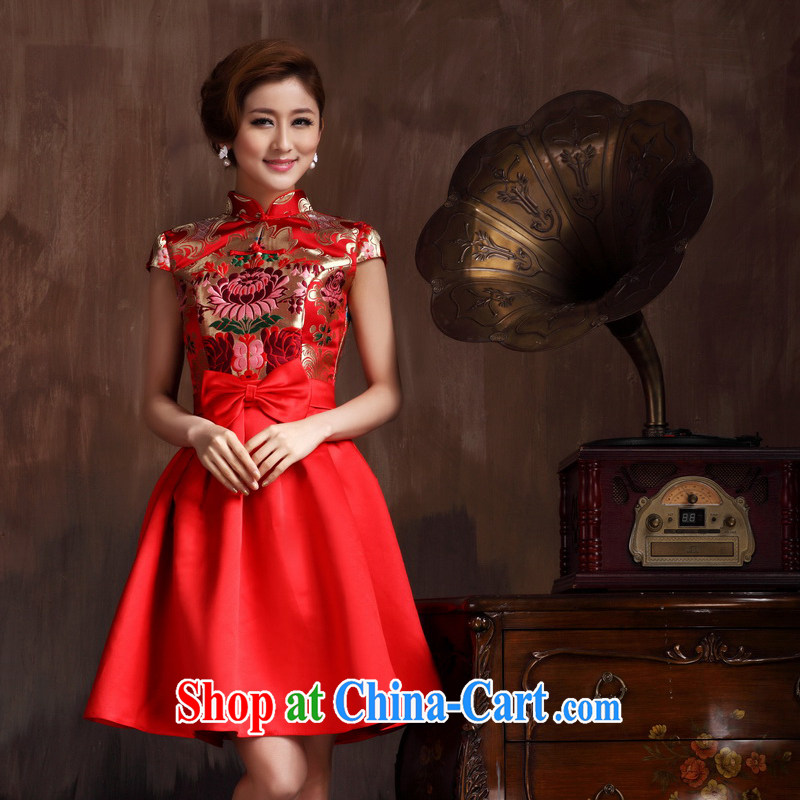 Non-you are not married cheongsam short summer toast wedding clothes red retro improved stylish beauty bridal non-you don't marry 2 XL