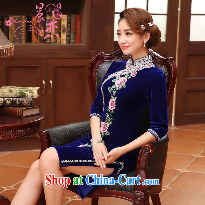 Morning, Autumn 2015 new stylish improvements in antique cuff luxury manually staple Pearl velvet cheongsam dress blue XXL