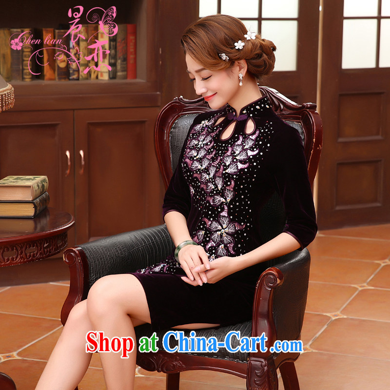 Morning, Autumn 2015 new stylish improvements in antique cuff luxury manually staple Pearl velvet cheongsam dress purple XXL