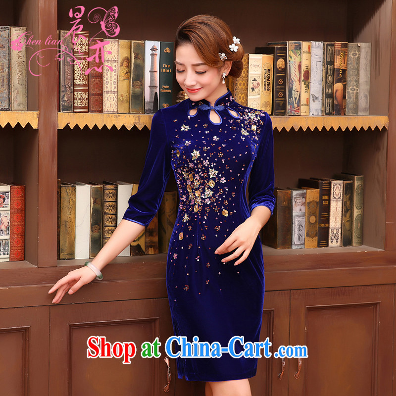 Morning, Autumn 2015 new stylish improvements in antique cuff luxury manually staple Pearl velvet cheongsam dress blue XL