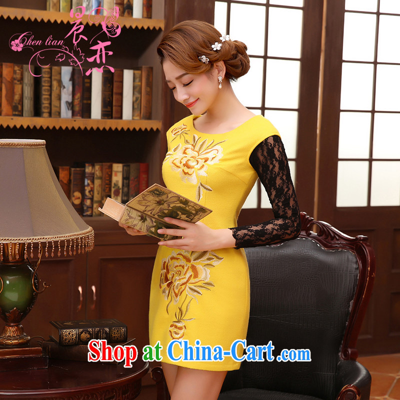 Morning, Autumn 2014 new stylish and refined antique fine rust wool flower cheongsam dress vest skirt yellow XXL