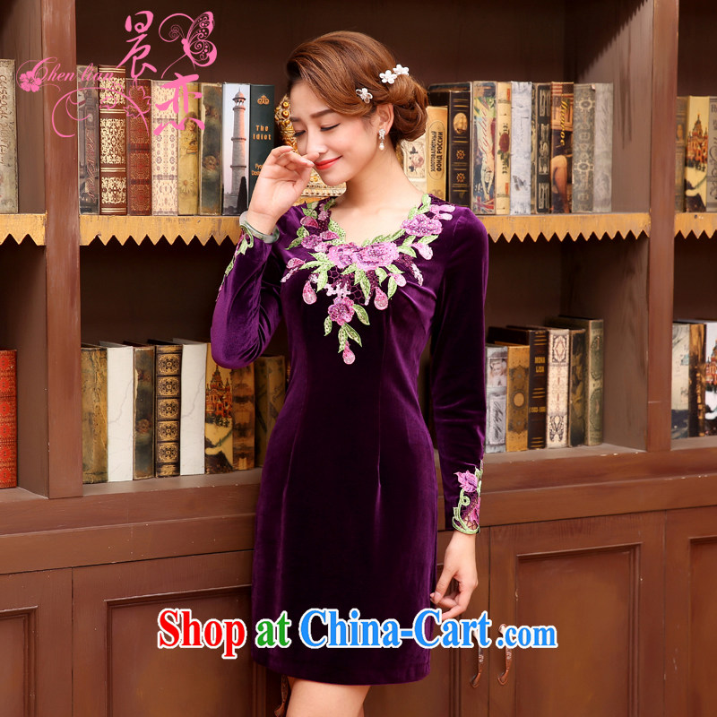 Morning, Autumn 2014 the new stylish and refined antique cuff in fine rust take velvet cheongsam dress Purple Purple XXL