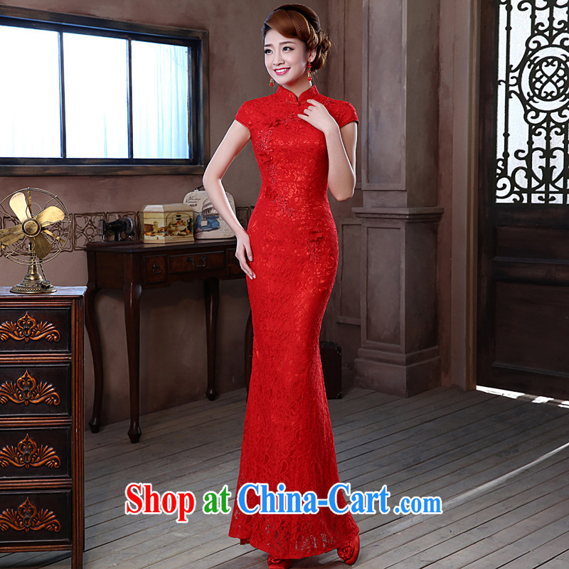Jessica covered by red short dresses 2014 new lace short sleeve retro, who married his toast at Merlion dress long cultivating graphics thin 7050 red long XXL