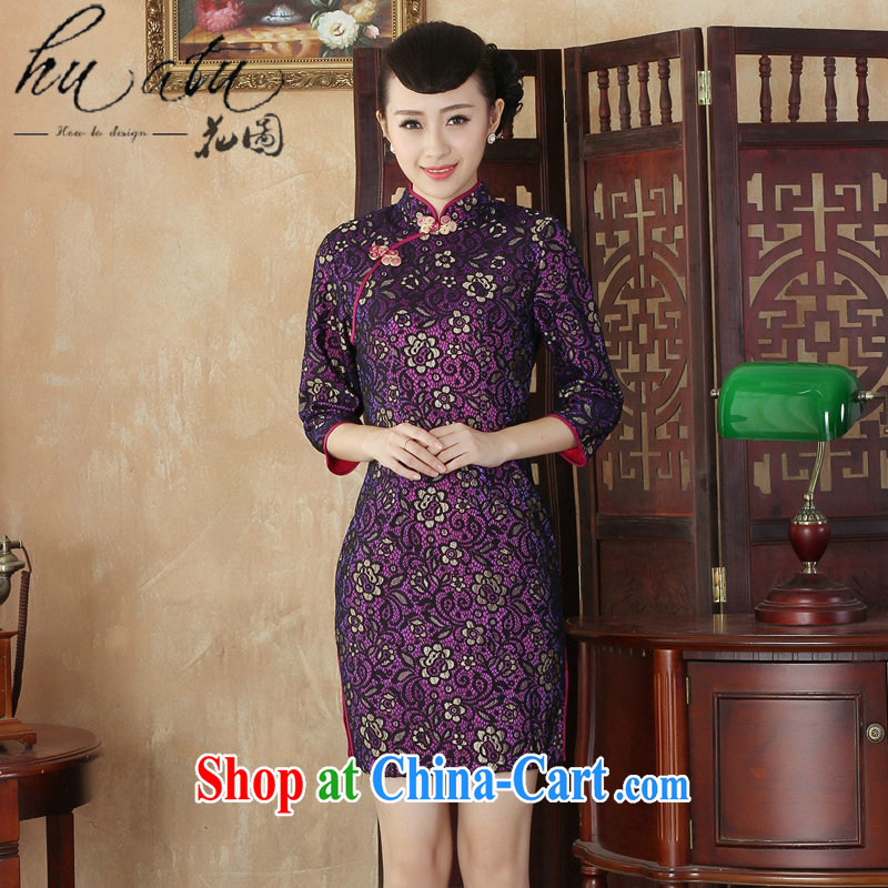 Spend the autumn and the New Tang Women's clothes cheongsam lace-up collar Chinese qipao dress stylish improvements in antique dresses cuff figure 2 XL