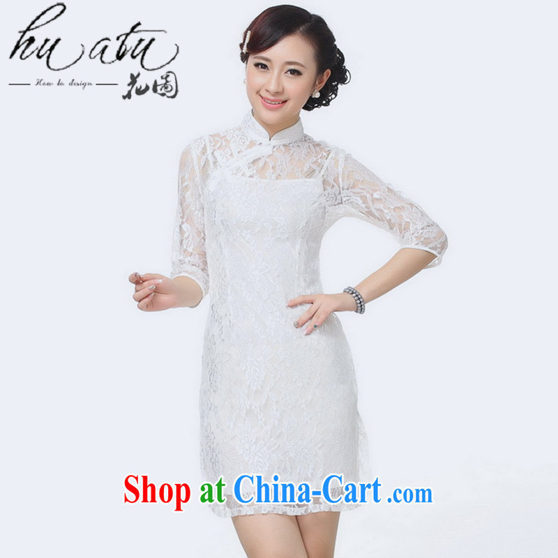 Take the new Tang Women's clothes for the cheongsam Chinese improved fashion cuff stretch lace short cheongsam white 3XL