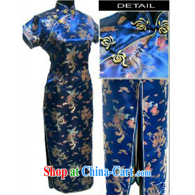 Limited time promotional high-power's Phoenix long cheongsam uniforms dresses etiquette hostess clothing wholesale dark blue XXXL