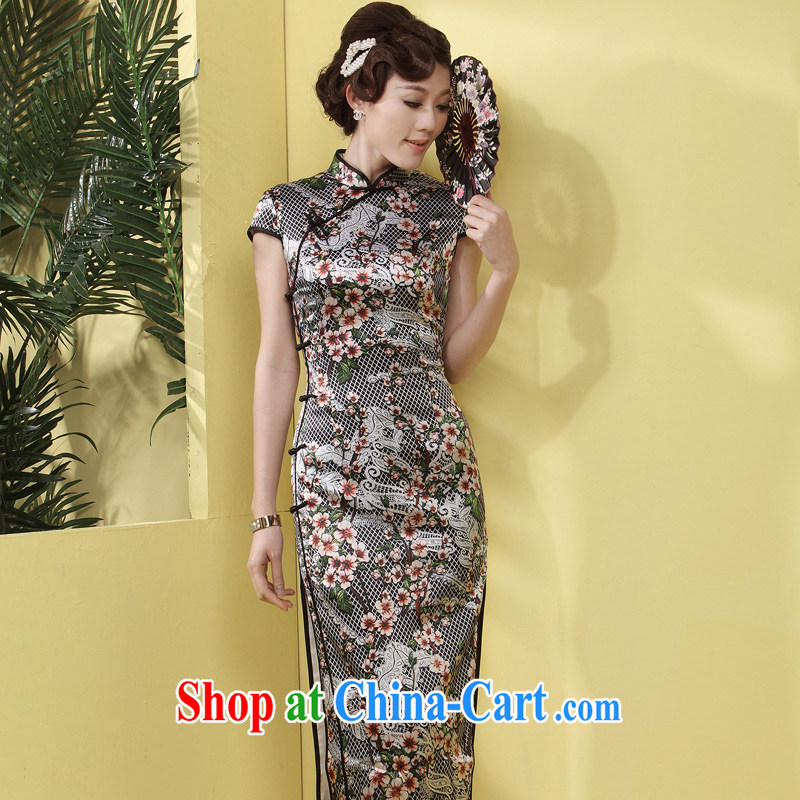 Long cheongsam high's antique dresses summer beauty MOM dresses long, older upscale silk dress black flower XL