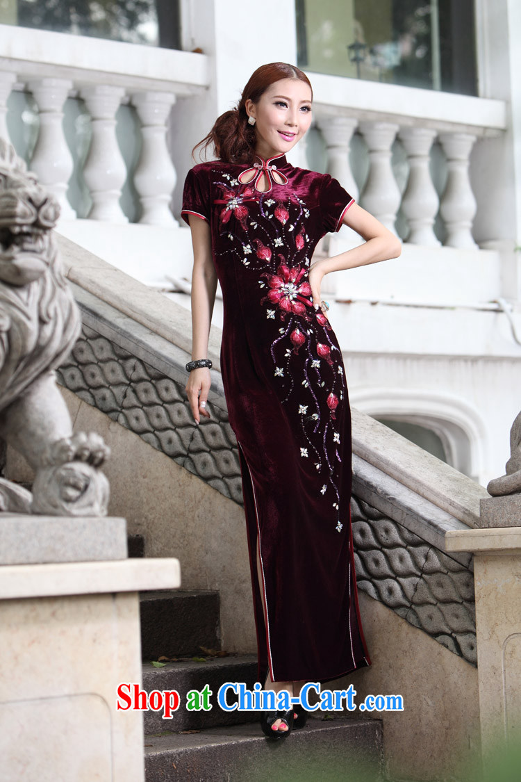 Long cheongsam high on the truck retro drops the buckle older dress mother wedding Evening Dress velvet gown, red XXXXL