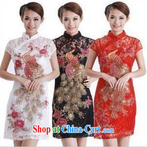 LACE dresses and stylish short summer 2013 Chinese improved embroidery Phoenix Sau San cheongsam dress package mail black XXL