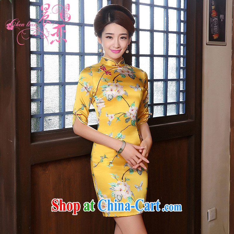 Morning, Autumn 2014 new stylish improvements in antique cuff luxury manually staple Pearl velvet cheongsam dress yellow XXL