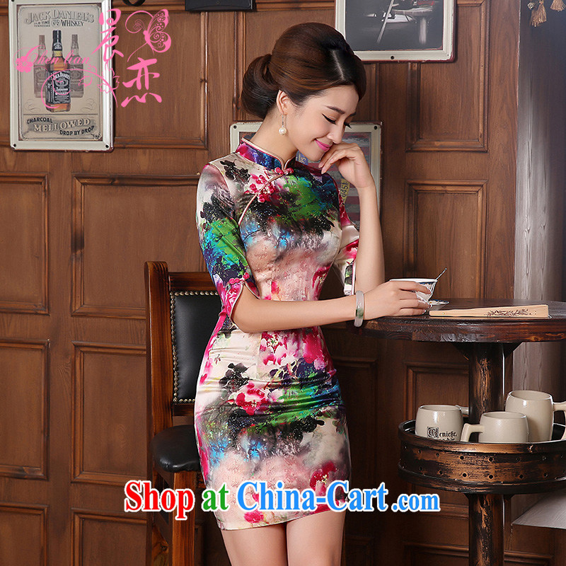 Morning dresses, new autumn 2014 the retro cuff in improved stylish sauna silk heavy Silk Cheongsam dress the color suit XXL