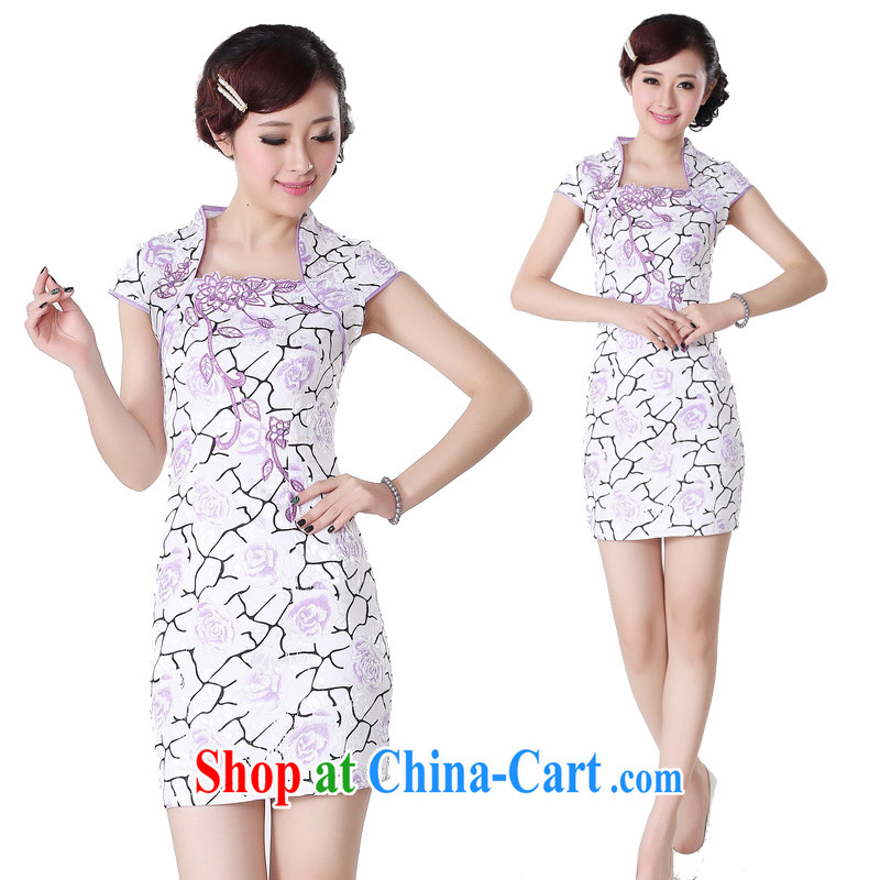 Second killed cheongsam dress summer stylish Chinese improved short Stylish retro dresses and elegant embroidered dress purple XXL