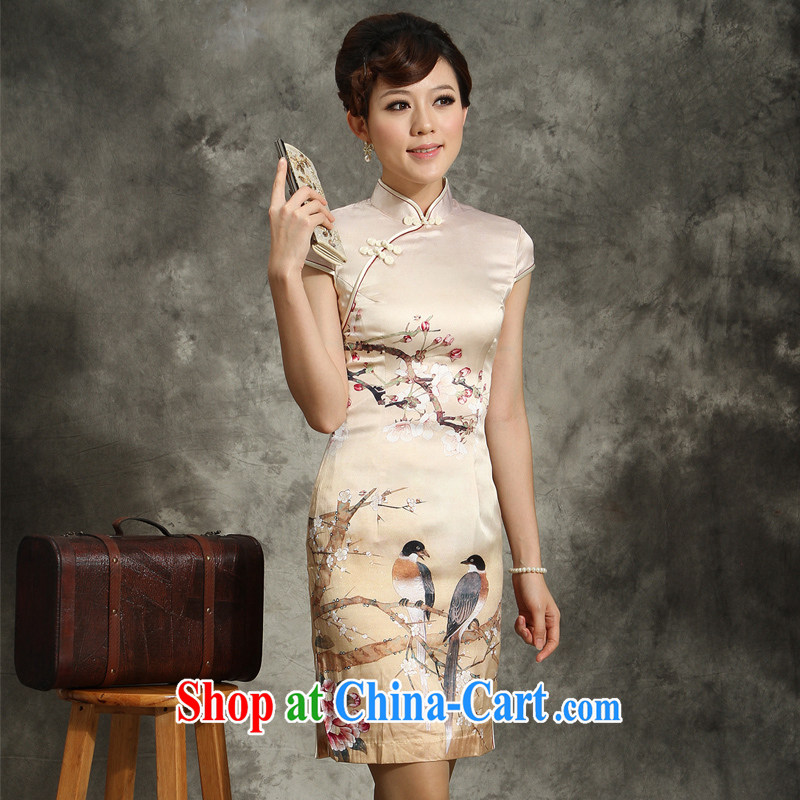 Silk Dresses retro upscale 2013 package mail summer Chinese improved sauna Silk Cheongsam day light yellow flower Bottom Position Phillips XXL