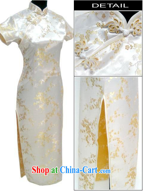 Special Offers! Ms. Phillips-head short-sleeved long robes with a large code S - 6 XL performances of his ceremonial stage costumes long cheongsam pale yellow XXXL