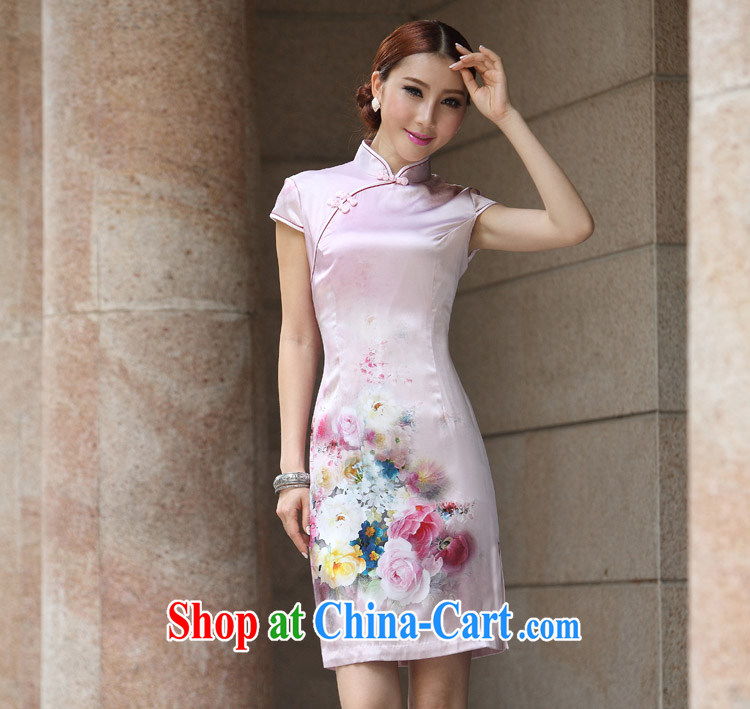 Special Silk Cheongsam upscale retro silk fabric improved stylish summer sexy cheongsam dress dress up Sakura pale pink L
