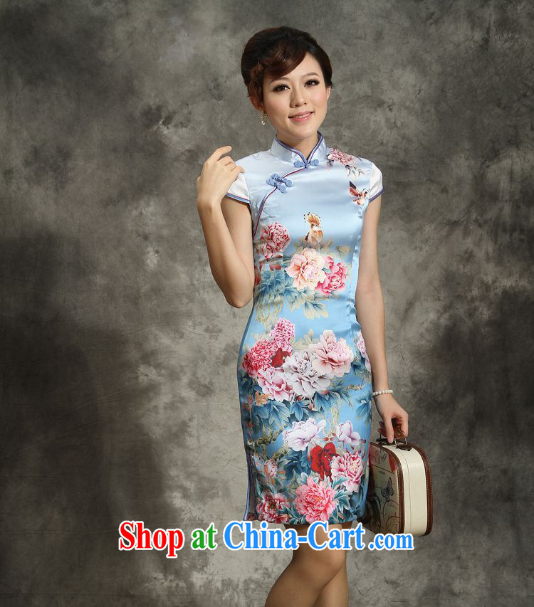 Silk Cheongsam high summer 2013 improved stylish sauna Silk Cheongsam genuine antique dresses Short Package by Peony XXL