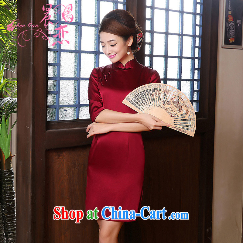 Morning dresses, new autumn 2014 the retro cuff in improved stylish sauna silk heavy Silk Cheongsam dress mauve mauve XXL