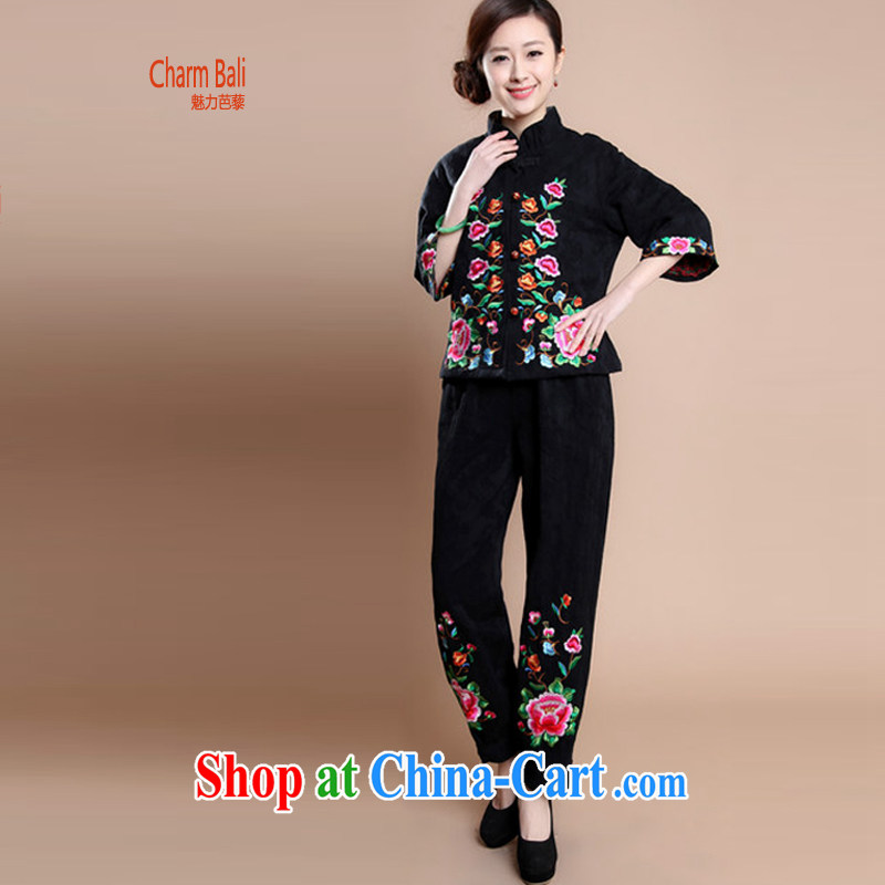 Hip Hop charm and Asia 2014 autumn and winter clothes on a new high quality cotton jacquard embroidered Tang in older women with mother T-shirt pants two piece set women to sell black XXXL