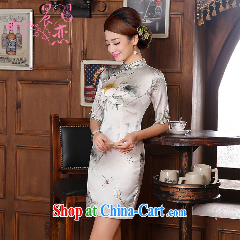 Morning dresses, new, 2014 autumn the retro-colored long-sleeved improved stylish sauna silk heavy Silk Cheongsam dress would be grateful if you would arrange M silver