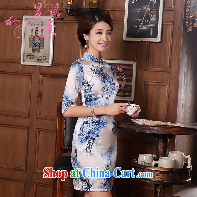 Morning dresses, new autumn 2014 the retro long-sleeved improved stylish sauna silk heavy Silk Cheongsam dress blue and light blue floral M