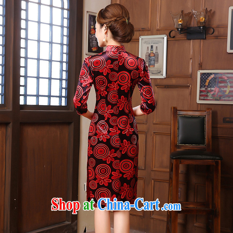 Early Morning, spring and fall 2015 new stylish and improved retro short, Korean velvet cuff in cheongsam dress mom with dark red XXL