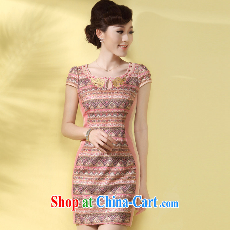 cheongsam dress summer fashion style high-end improved retro Beauty Fashion daily short video thin dress pink XL
