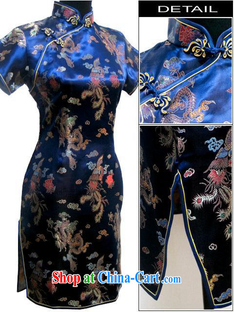 Special Offers Phoenix - tapestries, short-sleeved short cheongsam ceremonial performances stage serving the larger hospitality service wholesale dark blue XXXL
