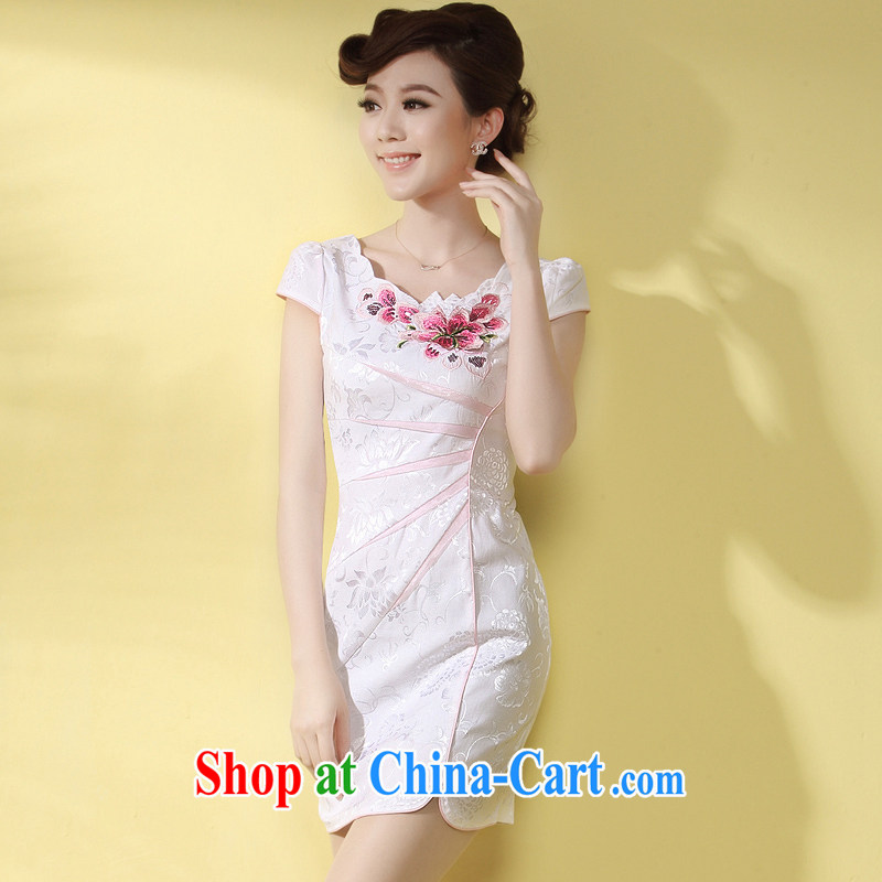 cheongsam dress summer fashion 2014 new Short Package beauty and sexy white girl cheongsam pink flower XXXL