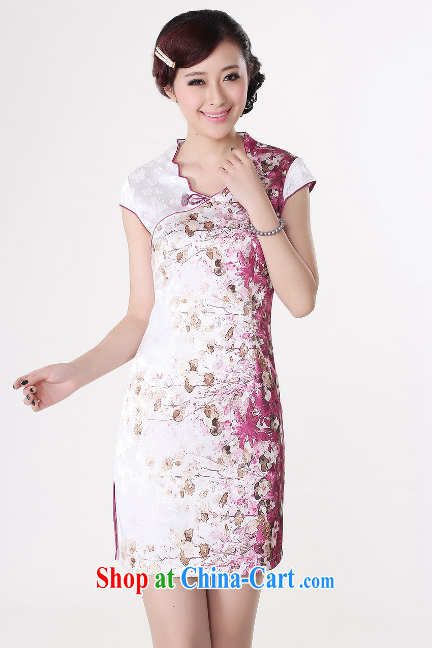 Special cheongsam dress summer fashion 2013 new elegant Ms. stamp Chinese improved dress package mail suit XXL