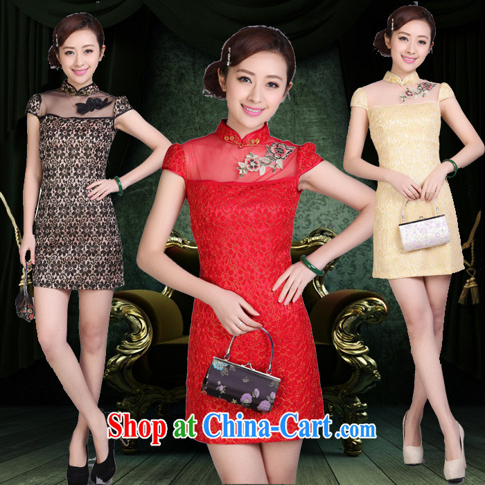 Daily cheongsam dress style beauty summer sense of improved retro high-end lace female short dress red XXL