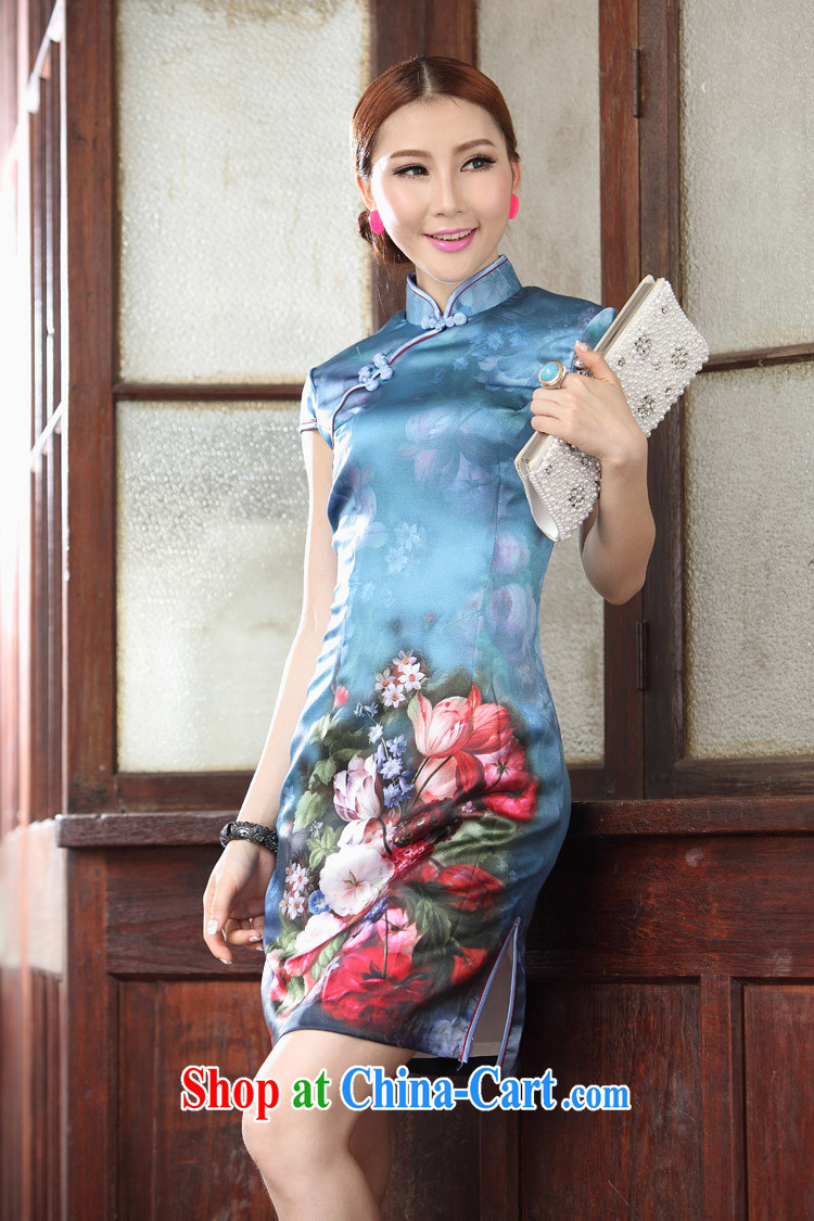 Clearance Silk Cheongsam dress upscale retro silk fabric improved stylish summer sense of cheongsam dress dress fall geese blue XL