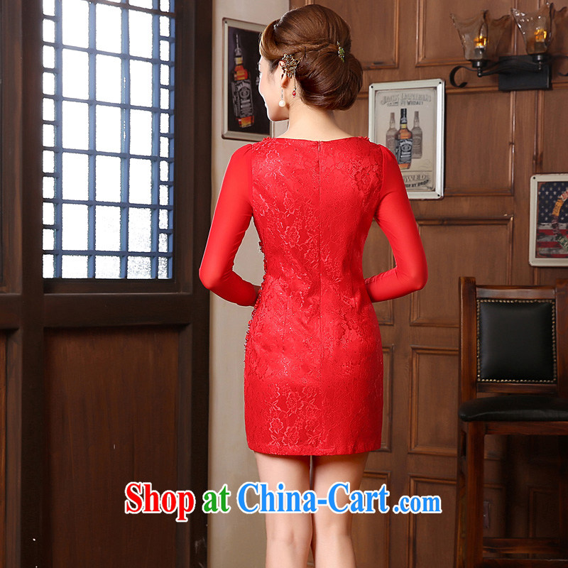 Morning dresses, new autumn 2014 the retro long-sleeved improved stylish lace cheongsam dress two-color bridal red M