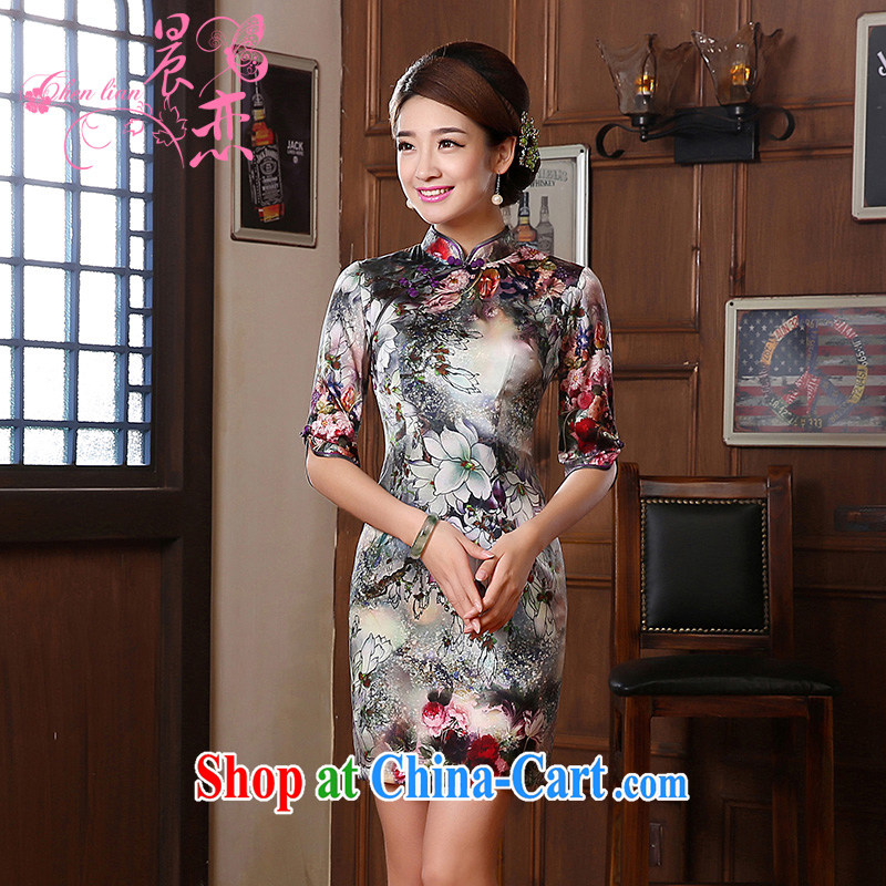 Morning dresses, new autumn 2014 the retro cuff in improved stylish sauna silk heavy Silk Cheongsam dress suit XXL