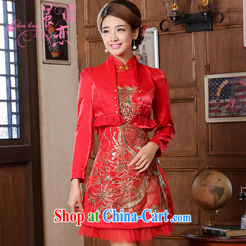 Special offer package mail 2014 new short marriage, antique dresses winter long two-piece bridal toast serving red dress red XL