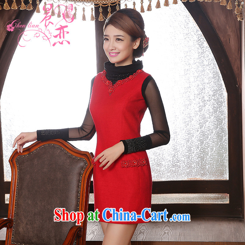 Early Morning, 2014 new cheongsam dress marriage short fleece? red retro improved bridal toast serving vest skirt red XXL