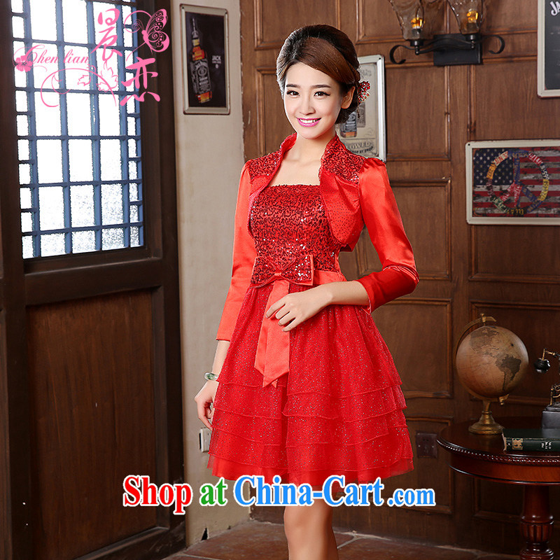 Morning, 2014 new short marriage, antique dresses winter long two-piece bridal toast serving red dress Red Red XXL