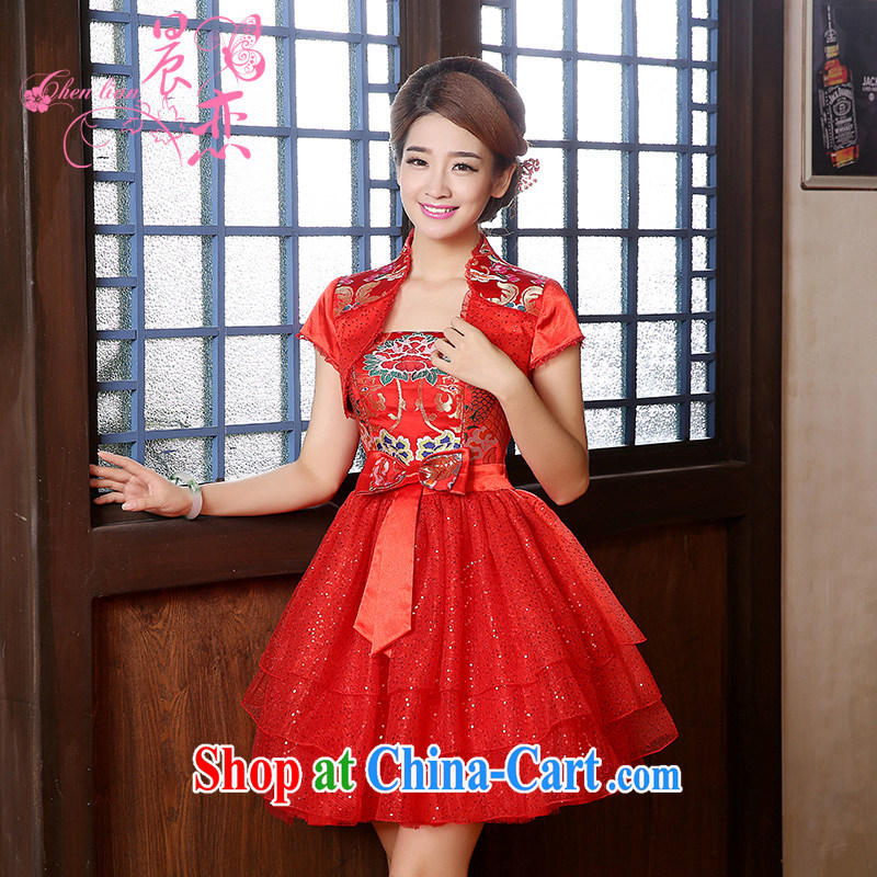 Morning, new autumn 2014 the retro short-sleeved improved stylish lace red cheongsam dress two-piece bridal red L