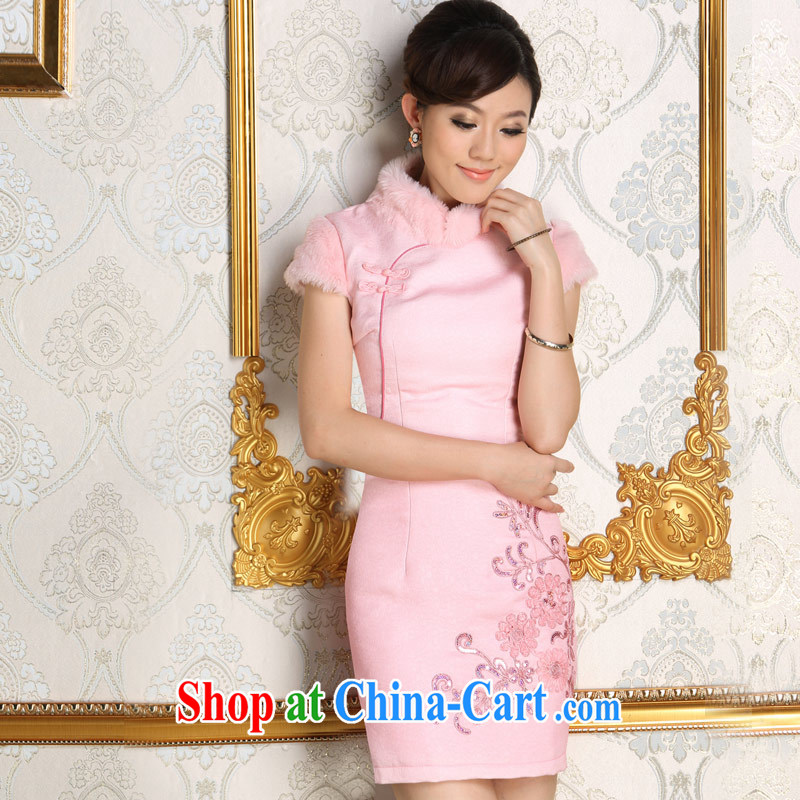 Early Autumn 2014 winter New Folder cotton cheongsam dress pink bridal wedding bridesmaid with thick hair collar dress pink XL