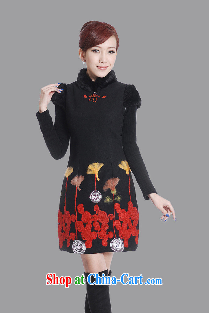 winter clothes winter outfit folder cotton improved stylish 2012 new retro black hair dresses? skirt package mail black XXL