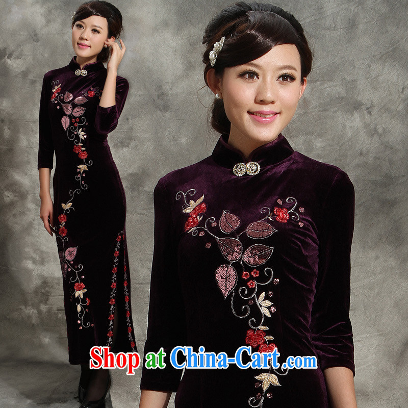 Wool long skirt retro spring 2013 new retro Classic beauty in older long cheongsam dress package mail purple XL