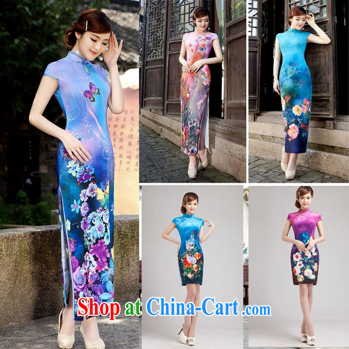Early Autumn 2014 new female long cheongsam high's sexy retro MOM dresses show dress long robes, efforts M