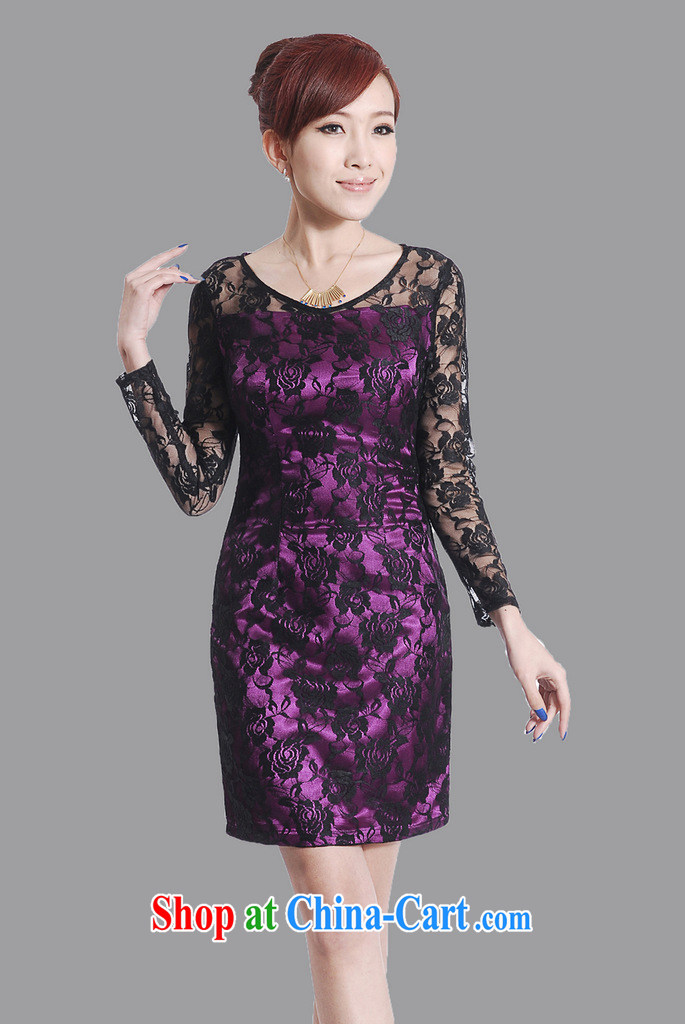 2013 new spring cheongsam dress improved stylish daily retro noble purple lace long-sleeved gown package mail Map Color XXL