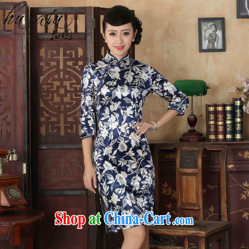 Spend the autumn and replacing Tang Women's clothes outfit New paragraph for the Chinese improved national gold velour Sau San cheongsam dress 7 Cuff - A XL 3