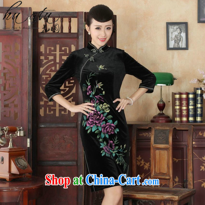 Spend the autumn and the New Tang Women's clothes, cheongsam collar hand-painted flowers and noble lady really velvet cheongsam 7 Cuff - A black 3 XL