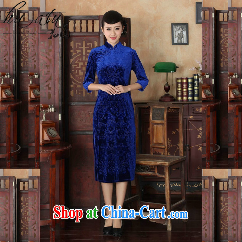 Spend the autumn and replacing Tang Women's clothes, cheongsam collar Chinese pure colors and elegant ladies stretch really velvet cheongsam dress 7 cuff such as figure 3 XL