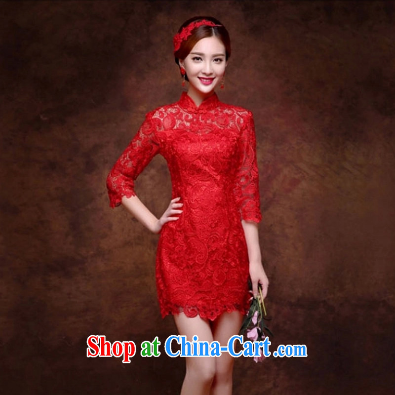 wedding dresses 2015 new marriage toast Service Bridal Fashion cheongsam red evening dress long bag shoulder lace short M