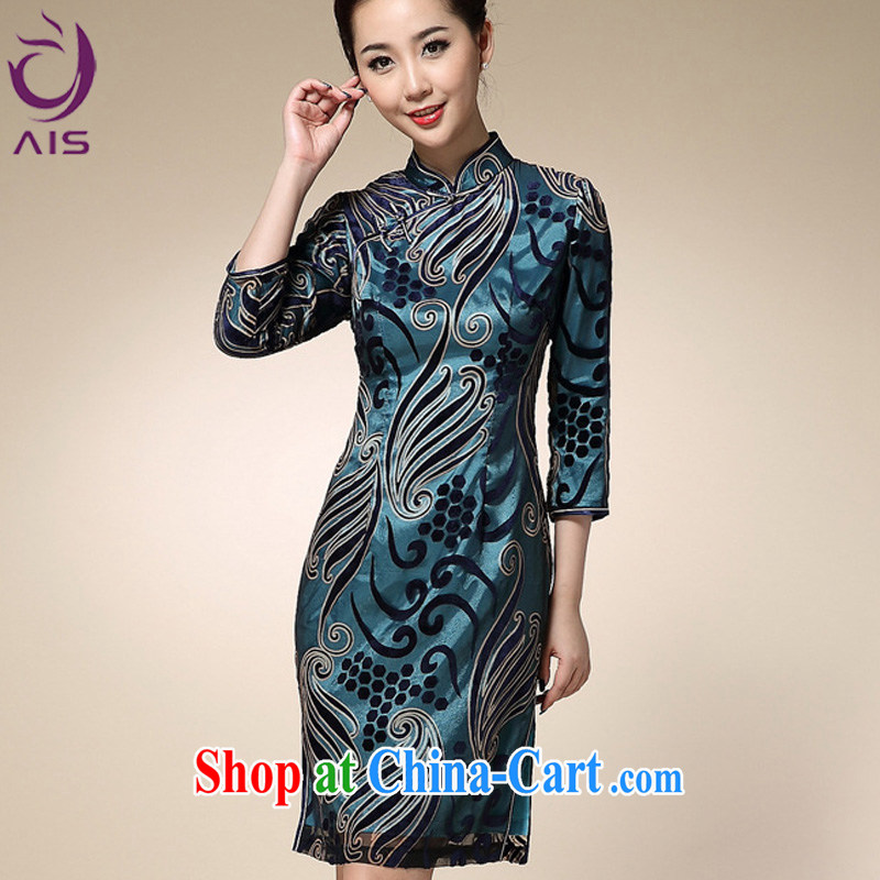 Still, the 2014 autumn and winter short, cultivating high stamp duty 7 cuff fashion cheongsam blue XXL