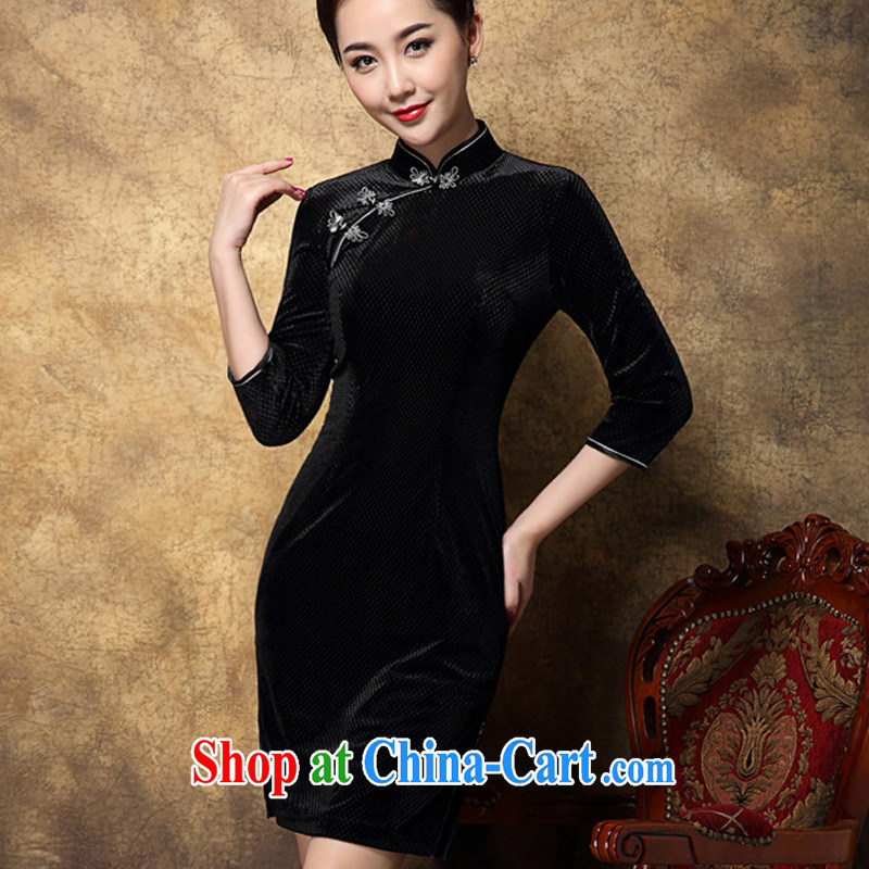 Growing Ritz 2014 autumn and winter new female Chinese High style Chinese style improved cheongsam black XXL .